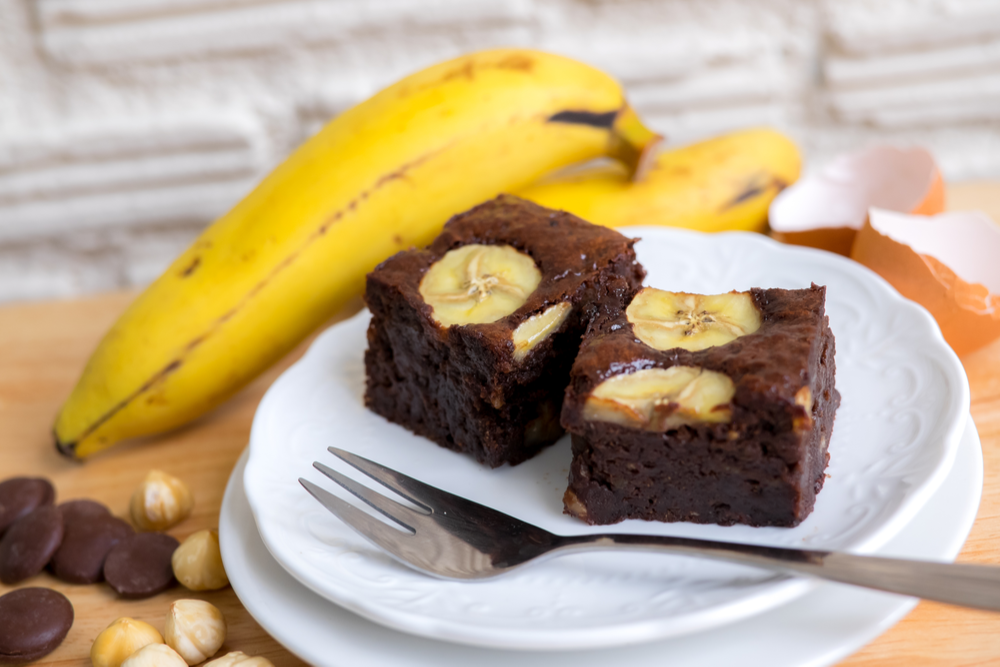 Brownie de chocolate e banana