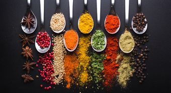 Spices,And,Condiments,For,Cooking,On,A,Black,Background